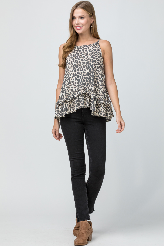 Leopard print square-neck top