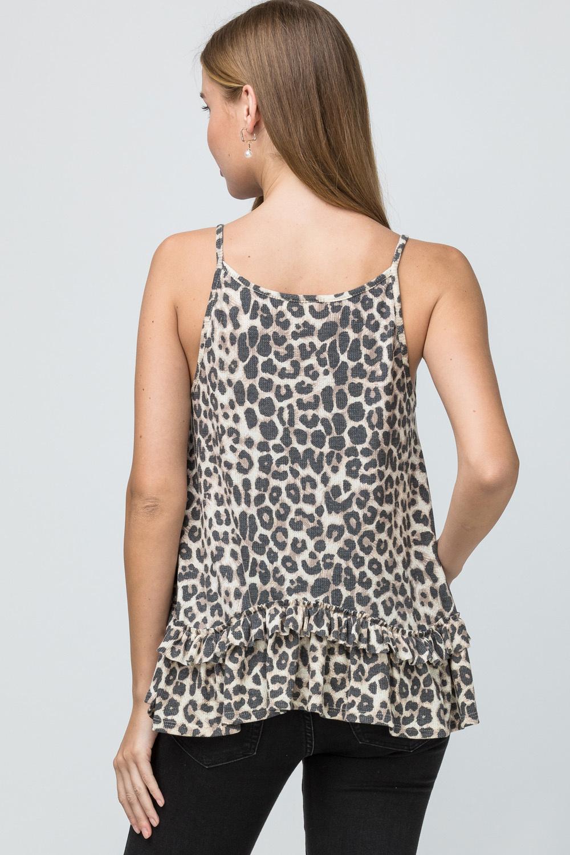 ENTRO Leopard print square-neck top