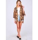 Leopard Print Woven Kimono
