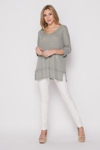 Loose Hacci Rib V-Neck Top