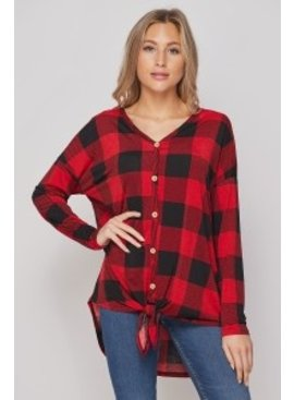 Button Front Knotted Top