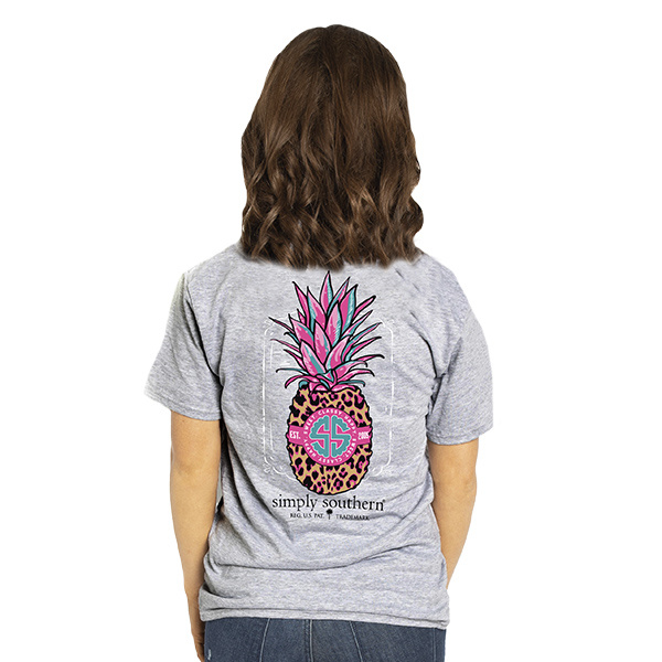 Simply Southern Collection YTH Preppy Pineapple Short Sleeve T-Shirt - Heather Grey