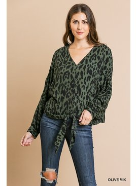 Umgee Animal Print L/S V-Neck Top