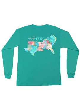 Peach State Pride The South Watercolor Long Sleeve Tee