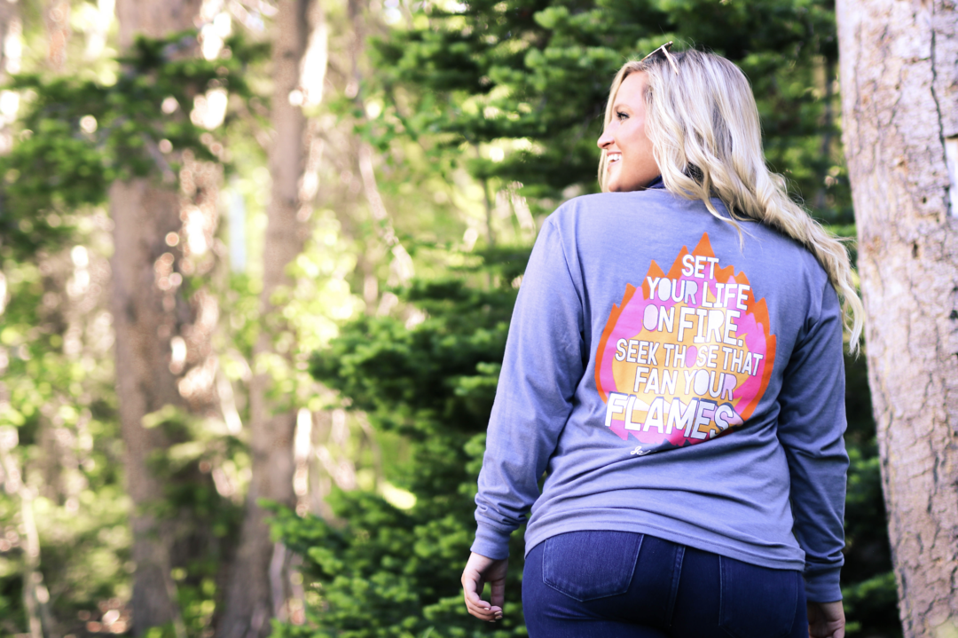 Jadelynn Brooke Set Your Life On Fire (Blue Jean Heather) - L/S / Crew