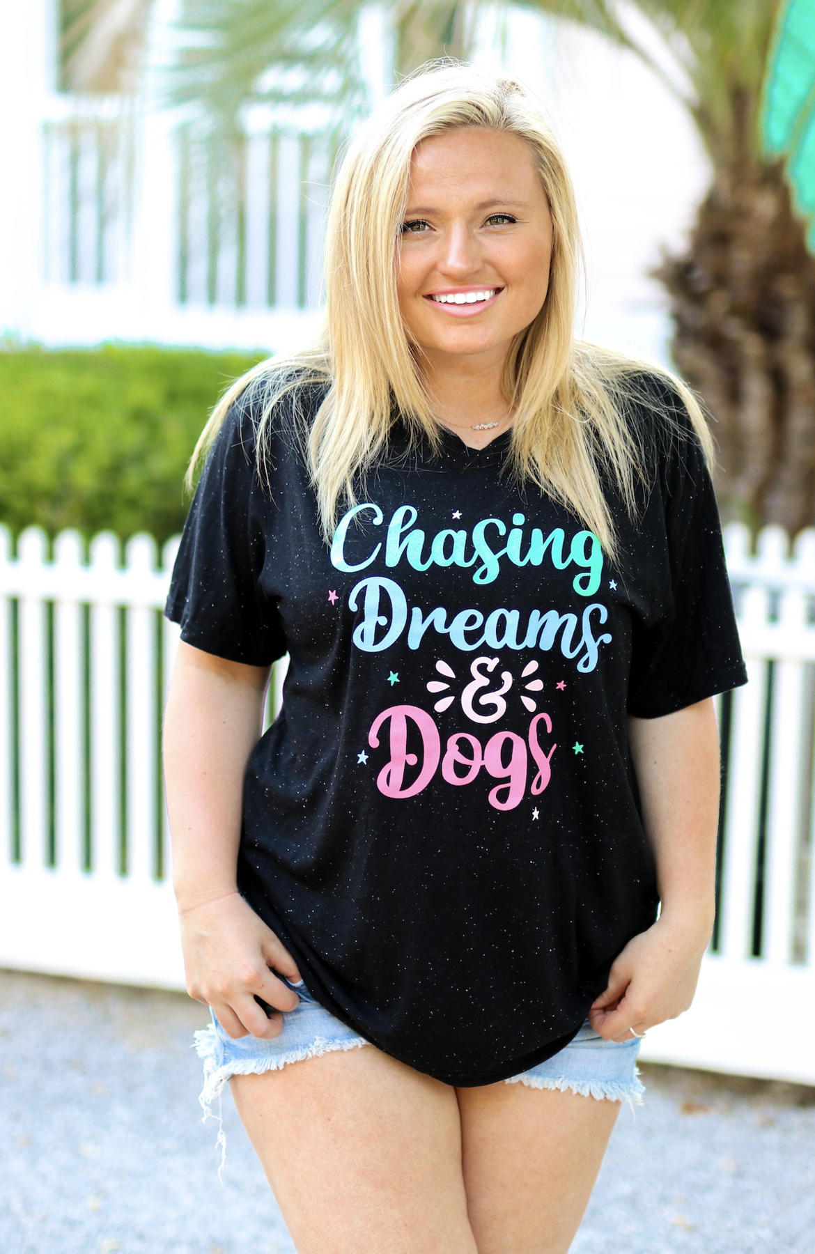 Jadelynn Brooke Chasing Dreams & Dogs (Black Speckle) - S/S / V-Neck