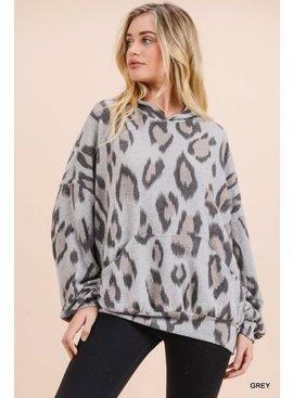 Jodifl Leopard Print Bubble Sleeve Hoodie