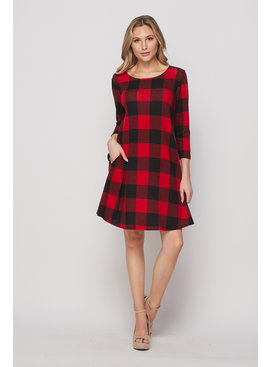 Honeyme HoneyMe Plaid Print Dress