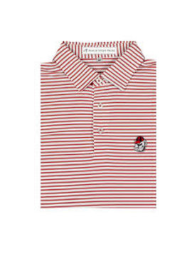 Peach State Pride UGA Bulldog Head Red & White Honeysuckle Stripe Polo