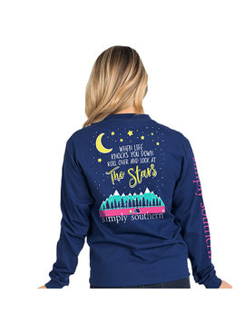 Simply Southern Collection Stars Long Sleeve T-Shirt - Midnight