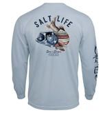 Salt Life Striper Flag Long Sleeve Pocket Tee