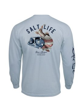 Salt Life Striper Flag Long Sleeve Pocket Tee