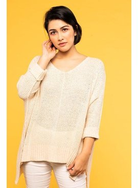 Before You Collection 3/4 Sleeve Pullover Sweater - One Size