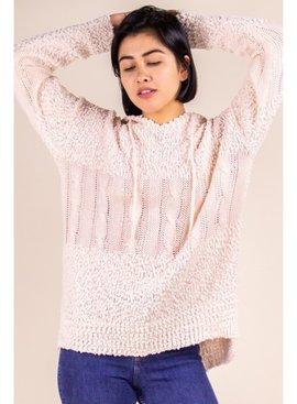 P. Cill Popcorn Knit Hoodie Sweater Top