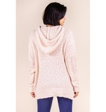 P. Cill Popcorn Knit Hoodie Sweater Top