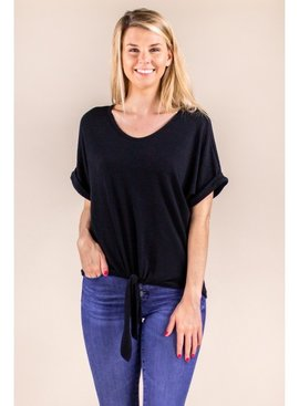 Before You Collection Short Sleeve Top W/Tie Front