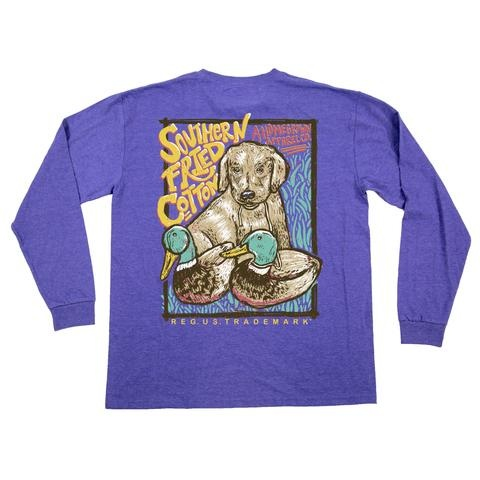 Southern Fried Cotton Duck, Duck, Dog LS Tee - Violet Sugar