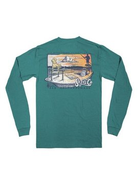 Southern Fried Cotton Knee Deep LS Tee - Heather Seafoam
