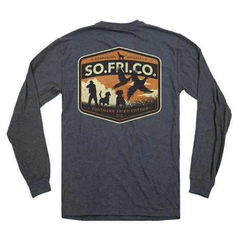 Southern Fried Cotton Pheasant Hunter - LS Tee - Heather Tin Roof