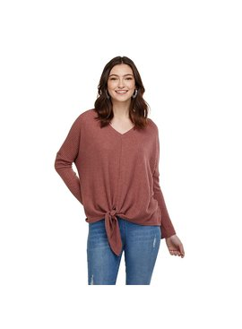 Mud Pie PEPPER TIE FRONT WAFFLE KNIT TOP
