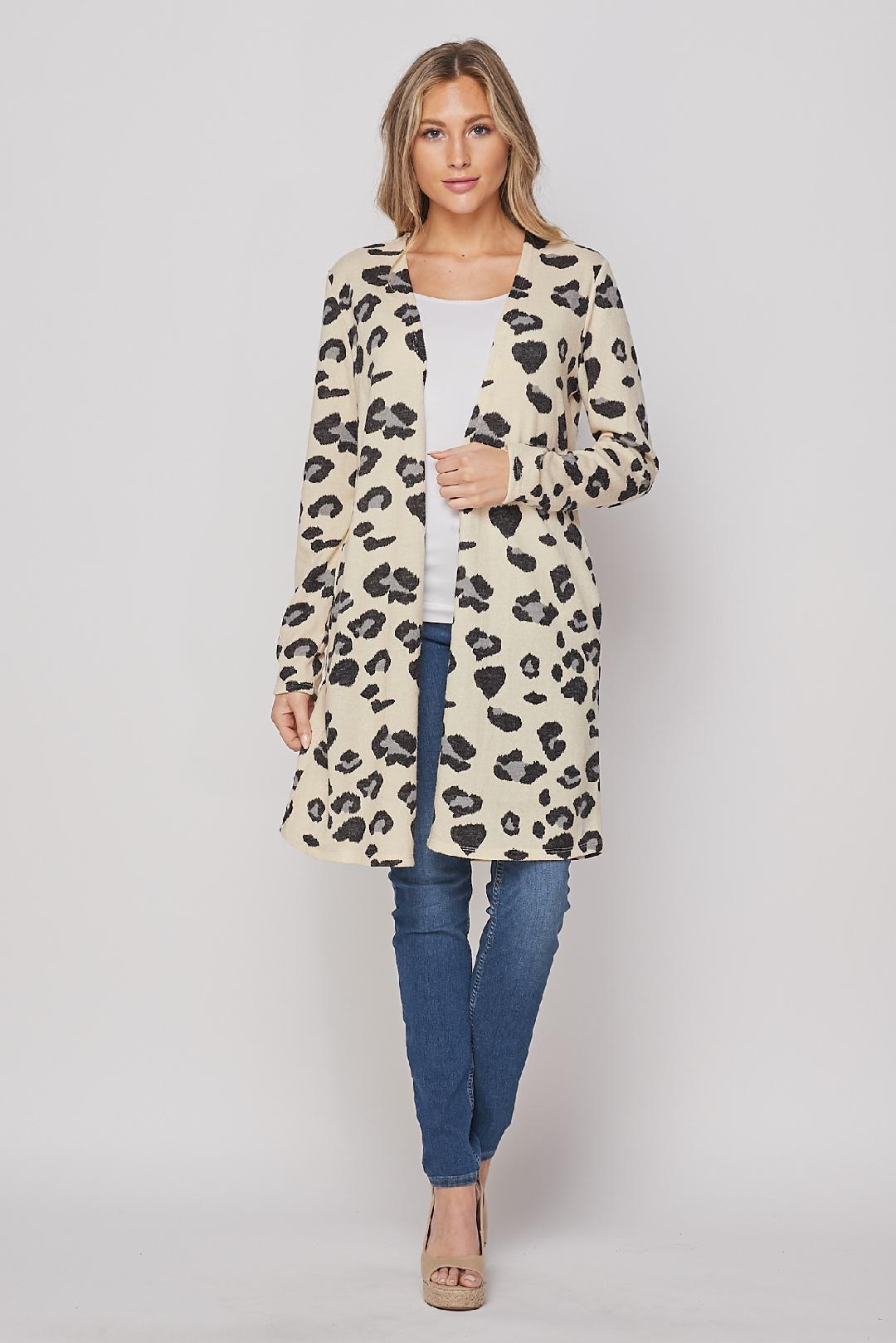 Honeyme Cheetah Print Cardigan