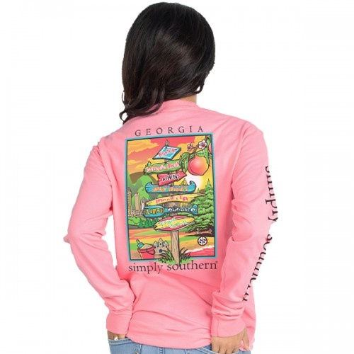 Simply Southern Collection Georgia Long Sleeve Tee - FLAMINGO