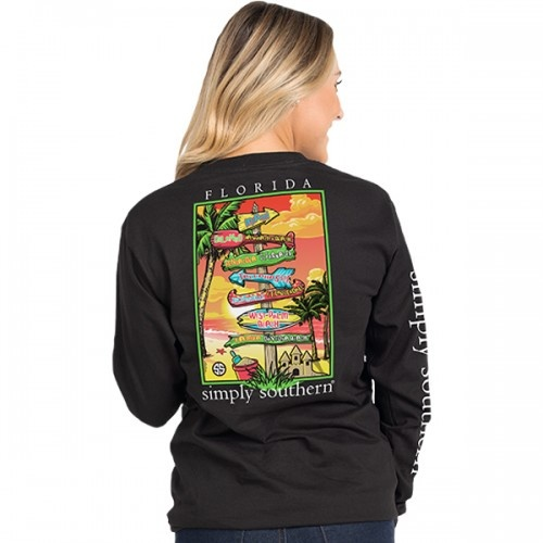 Simply Southern Collection Florida Long Sleeve Tee - BLACK