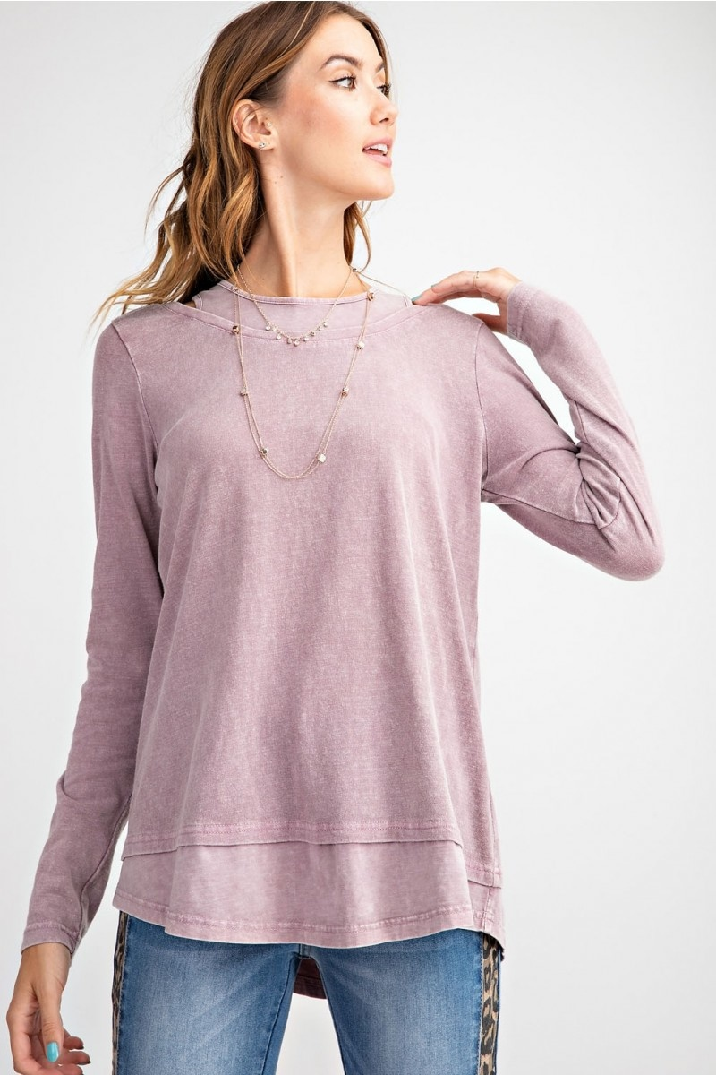 LONG SLEEVE MINERAL WASHED KNIT TOP