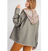 LONG SLEEVE NON STRETCH TWILL JACKET WITH ANIMAL TERRY KNIT HOODIE