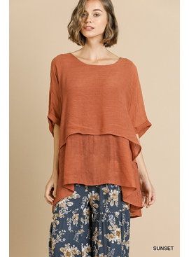 Umgee Cuffed 1/2 Sleeve Layered Tunic