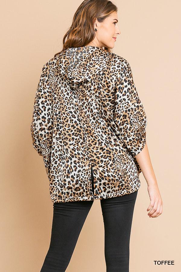 Umgee Animal Print Satin Jacket