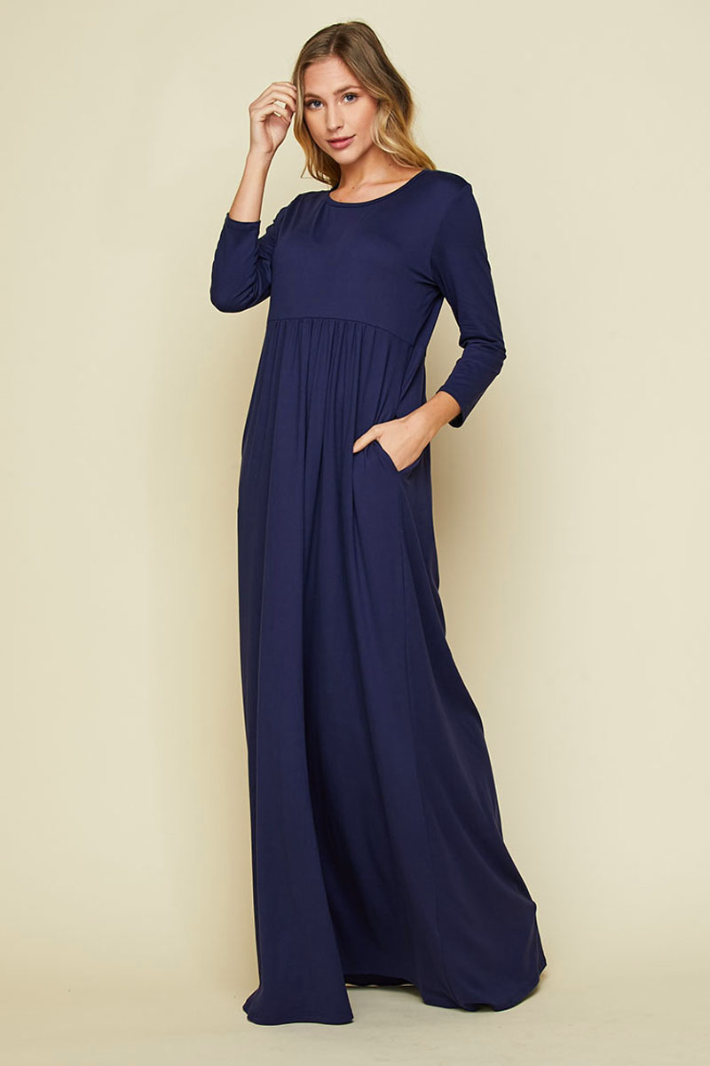 Honeyme SOLID COLOR 3/4 SLEEVE MAXI DRESS