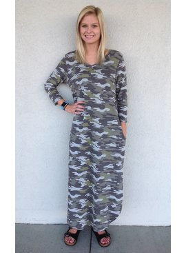 Honeyme Camo Maxi Dress