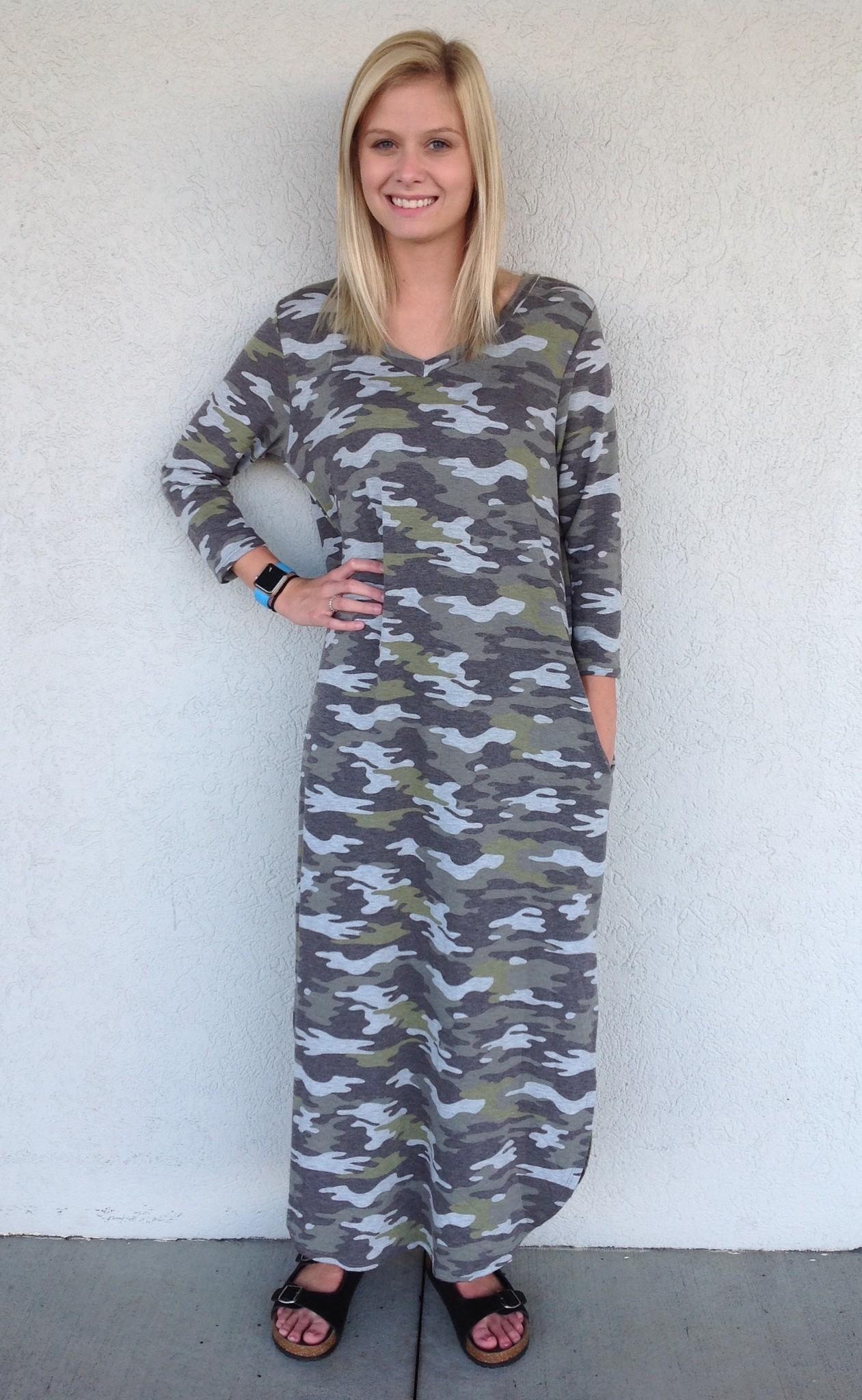 Honeyme Camo Maxi Dress