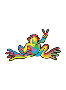 Peace Frogs Retro Car Magnet