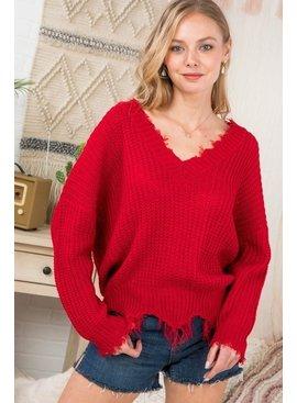 MAIN STRIP Frayed V-Neck Sweater