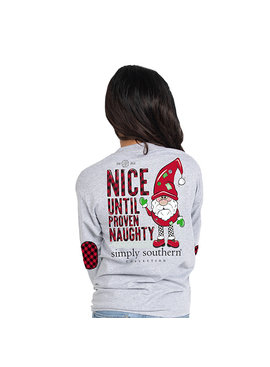 Simply Southern Collection Nice Until Proven Naughty Long Sleeve T-Shirt - Heather Grey