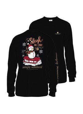 Simply Southern Collection Youth - Sleigh All Day Long Sleeve T-Shirt - Black
