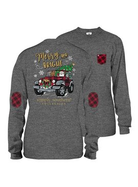 Simply Southern Collection Youth - Bright and Merry Long Sleeve T-Shirt - Dark Heather Grey
