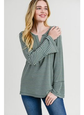Cotton Bleu Placket Stripe Casual Top