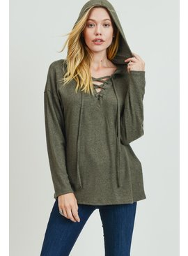 Cotton Bleu Lace-Up Front Hoodie Top