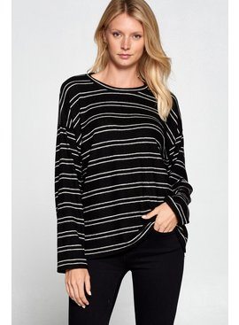 Cotton Bleu Striped Pullover Top