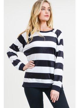 Cotton Bleu Velvet Striped Top