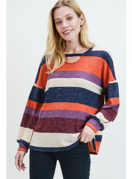 Cotton Bleu Striped Mock Neck Top