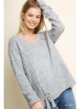 Umgee Long Sleeve V-Neck Knit Pullover Sweater with Lace Up Sides