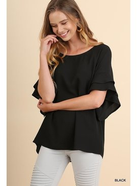 Umgee Layered Ruffle Sleeve and Round Neck Top