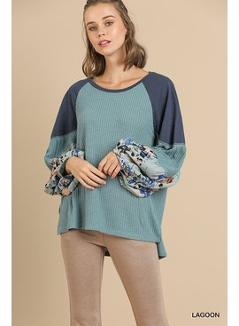Umgee Floral Print Waffle Knit Top