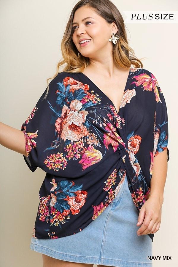 Umgee Front/Back Reversible Floral Print Dolman Sleeve V-Neck Top