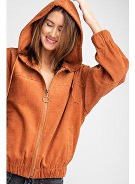 Corduroy Zip Up Hoodie Jacket