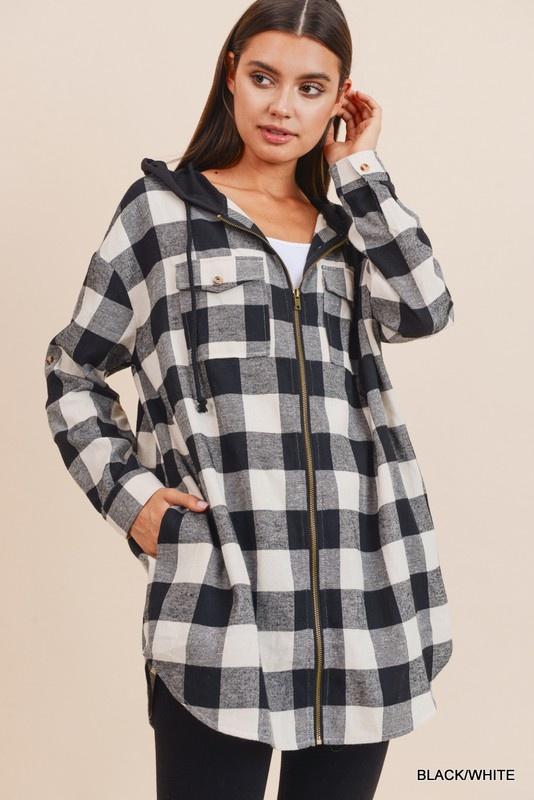 Jodifl Checkered Zip-Up Hoodie
